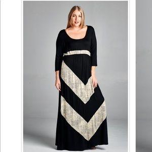 Black Gray Silver Plus Size Stretch Maxi Dress